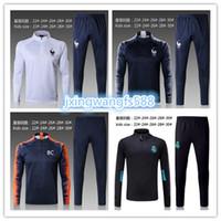 Wholesale youth boys jackets - France kids jacket training suit 2017 2018 Real Madrid soccer suit kids 17 18 messi jersey youth boy training suit
