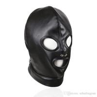 Wholesale Halloween Bondage Costume - Adult Products Sex Bondage Black Shiny PU Leather Headgear Dew Mouth Eyes Naris Mask Bound Headgear Sexy Costume