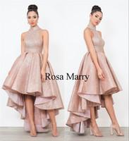festzug kleider größe 14 mädchen großhandel-Rose Gold Pailletten Arabisch Kurze Prom Kleider 2020 High Neck Plus Größe High Low Günstige Afrikanische Mädchen Formelle Festzug Abend Party Kleider