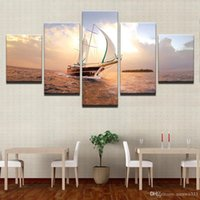 ingrosso vernici barche a vela-HD Stampe Immagini Modulari Canvas Wall Art Incorniciato 5 Pezzi Sunset Sailboat Seascape Dipinti Home Decor Boat Sailing Posters