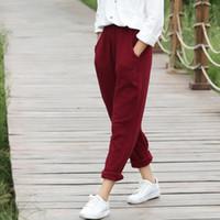 Wholesale Cotton Linen Trousers Women - 2018 Elastic waist Solid Cotton Women Harem Pants Black White Red Yellow Casual Harem Pants Summer Street Design Trousers C075