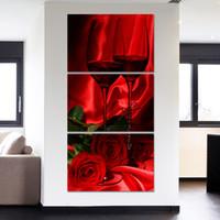 pinturas románticas de rosas al por mayor-Wall Art Poster Lienzo Modular HD Impresiones Pinturas 3 Piezas Románticas Vino Rosa Imágenes Decoración para el Hogar Marco de la sala de estar