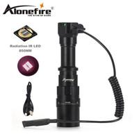 nachtsicht führte lichter großhandel-AloneFire X490 IR 850NM LED Taschenlampe Infrarot Licht Nachtsicht Lampe Troch Verwenden Wiederaufladbare18650 Batterie Für Jagd taschenlampe