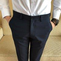 wear blue trousers men оптовых-Классический сплошной цвет мужчины костюм брюки черный темно-синий тонкий элегантный мужская формальная одежда брюки размер 28-38