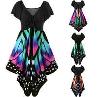 Wholesale colors cocktails dress for sale - Group buy Butterfly Print Swing Dress Women Short Sleeve Party Cocktail Casual V Neck Dress Bohemia Summer Dresses Colors OOA4285