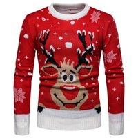 тонкий спортивный свитер оптовых-Mens Christmas Elk Трикотажный свитер Top Англия стиль Осень Зима Пуловеры свитер оленей O-образным вырезом Slim Fit с длинным рукавом свитера для человека