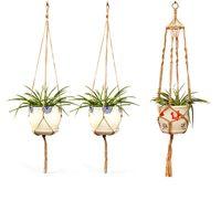 korb wanddekor großhandel-Makramee Pflanze Kleiderbügel Indoor Outdoor Wandbehänge Hanfseil Home Decor Pflanzer Halter Korb