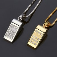 Wholesale rhinestone whistle - 2018 Trendy Vintage Stainless Steel Gold Silver Whistle Pendant Necklace With Crystal Hip Hop Jewelry Accessories For Men Women