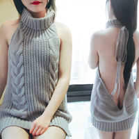 Wholesale women sleeveless sweaters - 2018 New Turtleneck Sleeveless Long Virgin Killer Sweater Japanes Knitted Sweaters Sexy Backless Women Sweaters And Pullovers
