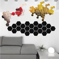 pegatinas de pared 3d precio al por mayor-12 Unids 3D Espejo Hexagonal Vinilo Removible Etiqueta de La Pared Decal Home Decor Art DIY Precio Al Por Mayor Apr27