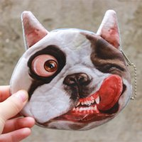 Wholesale Fabric Animal Coin Purses - Round Mini Wallet 3D Printed Cute Cat Dog Animal Face Coin Purse With Zipper Soft Key Bags Creative 2 9jo B