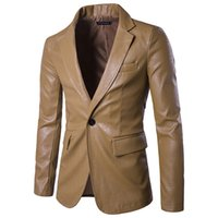 casaco de couro kaki venda por atacado-Nova marca dos homens blazer homens jaqueta de couro pu macio masculino moda masculina khaki blazer masculino slim fit terno estilo casual blazers