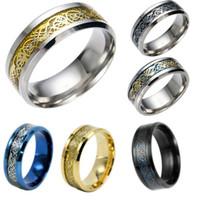 ring drachen chinesisch großhandel-Edelstahl Silber Gold Dragon Design Fingerring Chinese Dragon Ring Band Ringe für Frauen Männer Liebhaber Ehering Drop Shipping 7 Farbe