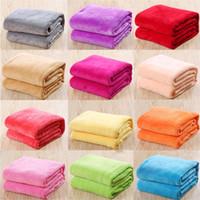 folhas de cama para crianças venda por atacado-Crianças Cor Sólida Cobertores De Flanela Inverno Quente Cobertores sofá Crianças Swaddling 50 * 70 cm folha de cama de bebê C3743