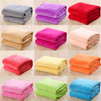 Wholesale Baby Warming Blanket - Kids Solid Color Flannel Blankets Winter Warm Blankets Sofa children Swaddling 50*70cm baby bed sheet C3743