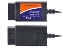 interface de diagnóstico usb nissan venda por atacado-ELM327 USB Plástico Scanner de Diagnóstico OBDII ELM 327 Cabo USB Interface de Versão 1.5 Versão 2.1