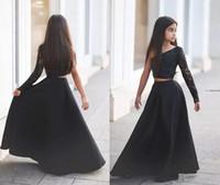 vestido de uma peça de flor venda por atacado-Laço preto de duas peças de cristal flor menina vestidos de mangas compridas Kid pageant vestidos para adolescentes de um ombro disse Mhamad Kids Formal Wear Barato