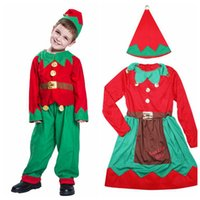 Wholesale elf clothes online - Baby Xmas Outfits Boys Girls Christmas Elf with Headband Sets Autumn Boutique Kids Cosplay Home Clothing Sets OOA5846