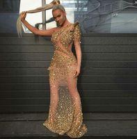 vestidos de noche de un solo hombro al por mayor-Sexy Gold Two Pipes Prom Dresses Un solo hombro mangas largas Crystal Beaded Celebrity sirena vestidos de noche ver a través del vestido de fiesta