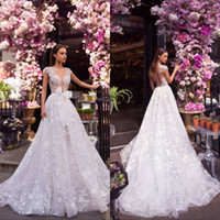 Wholesale vinatge wedding dresses resale online - Vinatge A Line Wedding Dresses with Bow Lace Applique Sequins Sweep Train Bridal Gowns Plus Size Beach Robe De Mariée