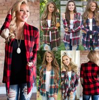 Wholesale Long T Shir - 6 Color Women Plaid Cardigan Long Sleeve Coat T-SHIR TLattice Loose Plaid Loose Blouses Button Large Size S-2XL Cardigan Jacket FFA205 50pcs