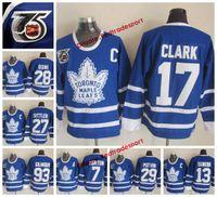 corbata domi al por mayor-1991 Hojas de arce de Toronto 29 Felix Potvin 7 Tim Horton Mats Sundin Corbata Domi Darryl Sittler 17 Wendel Clark 93 Doug Gilmour 75 camiseta de hockey