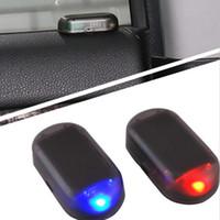 luces de advertencia de alarma al por mayor-Las luces de alarma LED del coche simulan la imitación del sistema de seguridad solar falso Advertencia La lámpara antirrobo del flash Decoración interior universal