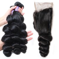 Wholesale cheap silky human hair weave for sale - Peruvian Hair Silky Straight Virgin Hair Bundles With Lace Closure Loose Wave Body Wave Cheap Brazilian Human Hair Weaving Water Wave