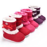 снежная обувь для ребенка оптовых-Hot Sell New Warm Christmas baby shoes winter girls boots with fur infant first walkers Fashion Antislip cute bow snow booties