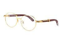 montures optiques lunettes de soleil achat en gros de-Fashion Full Frames Lunettes de soleil rondes Marque Designer lunettes de soleil pour hommes femmes lunettes en corne de buffle Lunettes optiques en bois blanc avec boîte
