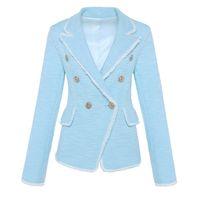 casacos de franjas venda por atacado-ALTA QUALIDADE de Moda de Nova 2018 Designer de Blazer Borla Franja Leão de Metal Botões das Mulheres Dupla Breasted Tweed Jaqueta Blazer S18101305