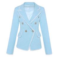 ingrosso giacche frange-ALTA QUALITÀ New Fashion 2018 Designer Blazer Nappa femminile Fringe metallo leone bottoni doppio petto giacca giacca Tweed S18101305