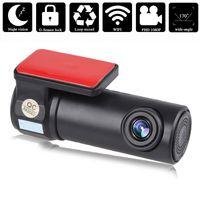 camara de video dvr al por mayor-2018 Mini WIFI Dash Cam HD 1080P Cámara DVR para coche Grabadora de video Visión nocturna G-sensor Cámara ajustable