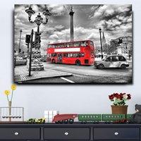 ingrosso manifesti bus-1 pezzo Modern Home Decor Immagini per soggiorno Red London Bus HD Stampa su tela dipinto Wall Art Street Poster Frame