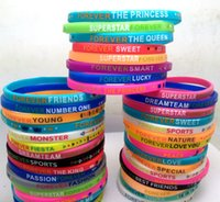 Wholesale children's bracelets online - 50pcs Colorful Girls Boys Charm Silicone Bracelets Forever Wristbands Kids Children S Birthday Christmas Party Gift