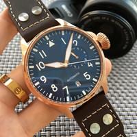 reloj automático para hombre piloto al por mayor-2017 Reloj de pulsera de lujo de alta calidad Big Pilot Midnight Blue Dial Reloj automático para hombre 46MM Hombre Relojes para hombre.