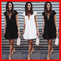Wholesale Summer Casual Dresses For Women - Summer women dresses sexy V-neck 2018 Black White dress Casual Short sleeve mini Shirt Dress New Fashion mini dress for women