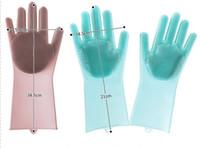 magische handschuhe geben verschiffen frei großhandel-Viel Farben-neue Reinigungsbürste-Silikon-Handschuh Säubern Sie die Badezimmerkoch- und -haustiermagiehandschuhe Freies Verschiffen