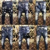 Wholesale jeans trousers fashion brands - Italian brand men's jeans 2018 new fashion high quality men's designer classic jeans luxury brand trousers Men's fashion jeans