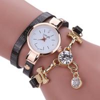 relógios de mulher quartzo de couro venda por atacado-Envoltório pulseiras 2018 Womens luxo strass Multilayer relógio de couro analógico vestido de quartzo relógios de pulso para as mulheres pulseira jóias