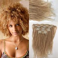 amerikanisches indisches blondes haar großhandel-Indische Menschenhaarverlängerungen Afro Kinky Curly Clip in Haarverlängerungen # 613 Blonde Clip Ins für Afroamerikaner FDshine