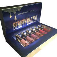 Wholesale mini lipstick gloss online - Matte Liquid Cosmetics Makeup Kit Lipstick Lip Gloss Long lasting Lip Mini Brithday Edition