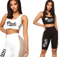 Wholesale bra art - Women Pink Letter outfit summer shorts set sleeveless Tank Vest t-shirt sports bra + Mesh shorts pants tracksuit Sportswear joggers suit