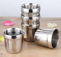 dupla parede copo acampamento de aço venda por atacado-180 ml de aço Inoxidável copo caneca de café caneca de cerveja caneca de leite caneca de leite de água de parede dupla