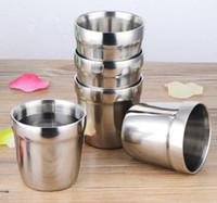 camping en acier à double paroi achat en gros de-180 ml tasse en acier inoxydable tasse de café double paroi tasse vin bière bière camping eau lait tasse