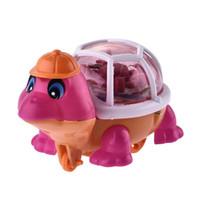 çekme oyuncak açtı toptan satış-Yeni Sevimli Komik Çekme Dize Aydınlık Kaplumbağa çocuk Oyuncakları LED Oyuncak Hediye Çocuklara Toptan Q0633