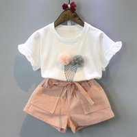 neujahrsblume großhandel-Mädchen Kleidung Sets 2018 Neue Sommer Casual Style Blume Design Kurzarm T-shirt + Doppeltaschenhosen 2 Stücke Baby Sommer Kleidung Für 2-6 Jahre