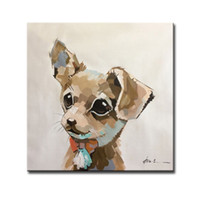Wholesale Framed Hand Painted Cute Dog Animal Oil Paintings on Canvas for Home Wall Decoration Unframed U Pickup Multi Sizes