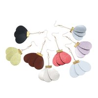 helle farbe ohrring großhandel-Stitching Fashion Sector Shaped Leder Ohrringe Bright Vintage Dangle Leder Ohrringe 4 Farbe Modeschmuck personalisiert