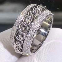 joyeria vecalon al por mayor-Victoria Wieck Vecalon espumoso joyería de lujo 925 Sterling Silver Pave Tiny White Zafiro CZ Diamond mujeres cadena de bodas anillo giratorio